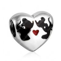 öpüşme hayvanları toptan satış-Emaye Öpücük Kalp Charms Boncuk Otantik 925 Ayar-Gümüş-Takı Karikatür Hayvan Boncuk DIY Marka Bilezik Yapma Aksesuarları Uyar