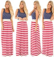 US Independence Day dress 2017 new Women long maxi Robes Fashion American flag printing Semelle Vest Stitching beach Dress