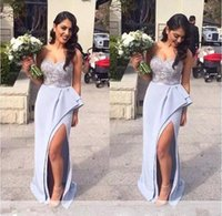 Wholesale Sweetheart Wedding Silk Column Gown - Lavender Side Split Long Bridesmaid Dresses 2017 Sweetheart Lace Appliques Top Sheath Maid Of Honor Gowns Beach Wedding Party Wear