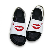 Wholesale Used Heels - Summer New Arrivals Brand Women Slippers Pu Print Lips Rubber Non-Slip Flat Sandals Outdoor Casual Dual Use Slides Beach Shoes