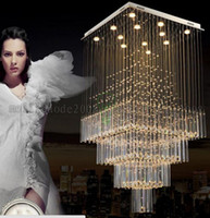 Wholesale Luxurious Lamp - Modern K9 Crystal Chandelier Square LED Pendant Light Luxurious Fashion Stairs Lamp Living Room Lighting LED MYY