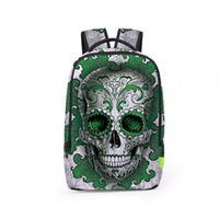 Wholesale Skull Computer Bag - Skull 3D Printed Teenager Student Backpacks 2017 New Fashion Outdoor Travel Bags Unisex Backpacks BB032BL