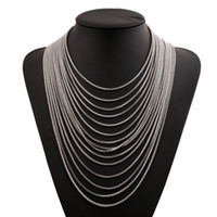 Wholesale Collar Women Exaggerated - 2017 Multilayer Long Tassels Necklace 15 Chains Gold Silver Black Retro Exaggerated Choker Women Collar Jewelry