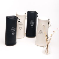 Wholesale Cylinder Leather Bag - Wholesale-Large capacity PU Pencil cylinder My Pencil Case Classical Black And White Color Waterproof PU Leather Storage Cosmetic Bag 0433