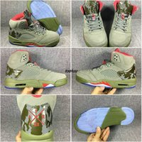Wholesale Green Bowling Balls - New Men Basketball Shoes Sneakers Retro 5 Camo Green J 5 White Cement Discount Men's Sports Basket Ball Shoes Athletics Drop Shipping 41-47