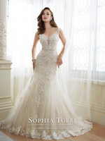 Wholesale Daria Wedding Dress - Tulle Sheath Wedding Dresses 2017 Deep V-Neck with Lace Appliques Beads Bodice and keyhole back Y11643 Daria Bridal Gown free shipping