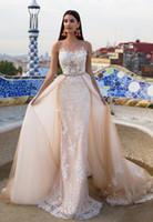 Wholesale Simple Floral Chiffon Sheath - blush nude detachable train overskirt sheatch wedding dresses 2017 Milla Nova bridal gowns lace appliques beaded long train