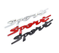 Wholesale Motorcycle Decorations Stickers - 3D Sport metal car sticker red silver black auto badge decoration Motorcycle Stickers Chrome Emblem car styling