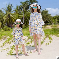 Wholesale Dresses Bohemia Style Chiffon - Mother and dauther dress flowers girl chiffon flare sleeve dress women floral printed falbala dress bohemia style family beach clothes T3293
