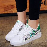 Wholesale Canvas Flower Korean Shoes - New Fashion Women Korean Lace-up Low Cut Female Students Flowers Sports Flat Casual Shoes 36-40