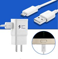 Wholesale Eu Charge Wall - High quality 5V 2A 9V 1.67A Adaptive Fast Charging Travel Wall Charger +1.5M usb cable for Samsung S6 S7 S8 With the LOGO