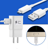Wholesale High quality V A V A Adaptive Fast Charging Travel Wall Charger M usb cable for Samsung S6 S7 S8 With the LOGO