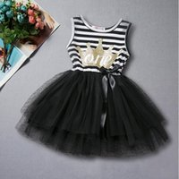 Wholesale Girls Crown Dress - Gold Crown Baby Clothes Black White Striped Baby Girls Princess Tutu Dress Princess Girls Party Dress Toddler Clothes