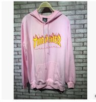 Wholesale Thin Summer Sweaters - 2017 spring and summer new men pink thin section youth sports hooded fire sweater men