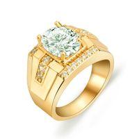 Wholesale Yellow Diamond Engagement Ring Wholesale - Men's Jewelry Yellow Gold Rings Diamond Crystal British Royal Gemstone Bling Wedding Jewelry Band Ring 9 10 11 HJZ50250