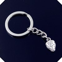nuovo-fashion-men-30mm-keychain-DIY-metal-holder-catena-vintage-due-lati-fragola-17-10mm-chiave d'argento