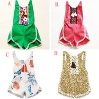 Wholesale Kids Tassels Clothes - INS Baby Tassel Romper summer toddler kids floral printed Climbing clothing girls cotton sleeveless jumpsuits 5 styles C1815