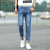 Wholesale Jeans For Cheap - Wholesale- #1403 2017 Summer Skinny jeans men Thin Ripped jeans for men Fashion Ankle-length Denim homme Cheap jeans mens Distressed
