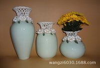 Wholesale Wedding Decorative Items - 3 styles green retro hollow vase characteristics ceramic crafts household items decorative works of art interior supplies series