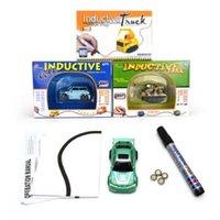Wholesale Novelty Car Pens - Novelty Games Mini Magic Pen Inductive Fangle Vechicle Toy Children's Car Truck Tank Car Toys CCA7406 48set