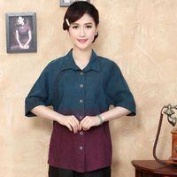 chemise en soie chinoise traditionnelle achat en gros de-Mode 100% Soie Femmes Chemise Traditionnelle Blouse En Soie Blusa Blusa Chinois Féminin Buttercup Chemise En Soie Tops Mujer Camisa