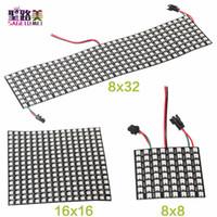 panel led 32 al por mayor-Venta al por mayor 8 * 32 16 * 16 8 * 8 Digital RGB LED Matriz WS2812B RGB LED módulo de píxeles direccionables individualmente 2812 Panel de píxeles iluminación de luz de pantalla