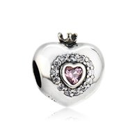 Wholesale Pink Cz Necklaces - Authentic 925 Silver Beads Princess Heart Charm, Pink CZ Fits European Pandora Style Jewelry Bracelets & Necklace
