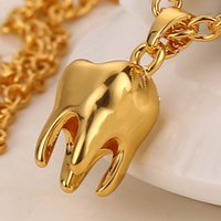 Wholesale Long Tooth Necklace - New Yellow Gold Plated Tooth Pendant Necklaces for Women Men Long Link Chain Necklace Personality 31.5 inches