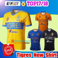 Wholesale Stars Shirts - 2017 NEW Tigres UANL soccer jerseys thai quality 17 18 Mexico club Maillot De Foot Home yellow away 5 star GIGNAC football shirts