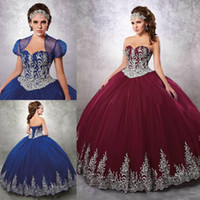 Wholesale Ivory Dress Lace Bottom - Quinceanera Dresses 2017 Burgundy  Royal Blue Tulle Applique Bottom Floor Length Lacing Corset Back Formal Prom Gowns With Jacket