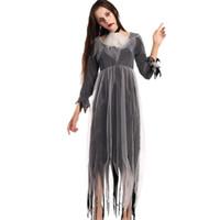 Wholesale Ghost Cloak - Ladies The Walking Dead Zombie Bride Horror Halloween Fancy Cloak Dress Costume Horror Black Female Ghost Party Outfit Cosplay W531811