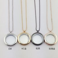 Wholesale Glass Bead Necklace Wholesale - 4 Colors Floating Locket Pendant Necklace women Magnetic Living Memory Glass Floating Charm Locket With bead Chains DIY necklaces 160793