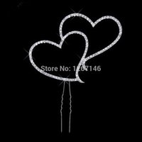 Wholesale-One PC Wedding Decoration Populaire Nouveau strass blanc Lovely Double Heart Shape Cake Topper 1Oi8