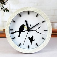 Wholesale Bird Mechanical - Wholesale- Creative Fashion Alarm Desk Clock With Bird In For Home Decoration Unique Gift Free Shipping