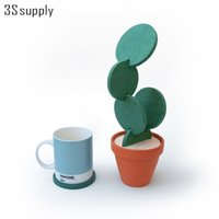 Wholesale Desk Novelty Gifts - Wholesale- 1 Set Novelty Cactus Placemat Table Desk Decorations Detachable Heat Insulated Table Mat Drink Coasters Modern Gifts Storage Pot