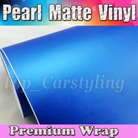 Wholesale Matt Blue Wrap - Pearl Matte Blue Vinyl Car Wrap Film With Air Bubble Free   Matt Vinyl For Vehicle Wrapping Body Covers foil Vinyle 1.52x30m Roll (5ftx98ft)