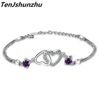 925 Sterling Silver Charm Bracelets For Women Heart to Heart Love Bracelet Bangles CZ Link Chain Costume Jewelry Gift sl319