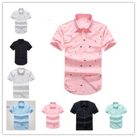 Wholesale High Collar Dress Shirt Men - Free shipping New Fashion Small Horse Oxford Men Shirts short Sleeve Mens Dress Shirts High Quality Mens Business Shirts polo Chemise Homme