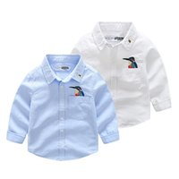 Wholesale Shirt Bird Cartoon - Everweekend Boys Birds Embroidered Cartoon Tees Shirts Blue and White Color Long Sleeve Sweet Children Fashion Tops Autumn Blouse