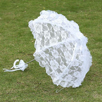 Wholesale Vintage Sun Parasols - Fancy Umbrellas For Weddings Bridal Lace Wedding Shooting Umbrella Vintage White Parasol Sun-Umbrella Wedding Decoration Event Party Supplie