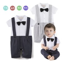 Wholesale Free Modeling - 2017 Baby kids cute Gentleman boy romper 100% cotton gentleman modeling one-piece clothes kids romper free shipping 2 colors