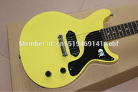 Wholesale Guitar Black Yellow - Custom Billie Joe Armstrong Signature Junior Double Cutaway Yellow Electric Guitar Black Pickguard Dot Fingerboard Inlay Top Sale