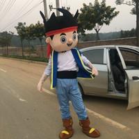 Wholesale Neverland Pirate Mascot - Jake Neverland Pirate Mascot Costume Cartoon Fancy Dress Adult Size Free Ship
