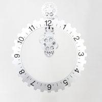 Wholesale Wheels Garden - Gear Wall Clock Big Wheel Hour Clocks Plastic Vintage Gear Walls Clocks Home Garden Decor Black And Sliver