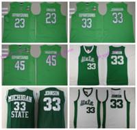 Wholesale Magic Johnson Shirt - Michigan State Spartans Jerseys 2016 College Throwback 33 Magic Johnson Shirt Green White Uniform 45 Denzel Valentine 23 Draymond Green