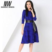 Wholesale Nordic Shorts - Wholesale- Nordic winds 2016 autumn women fashion o-neck three quarter sleeve rose floral print bow sashes A line dress vestidos