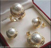 conjuntos de perlas de 14mm al por mayor-Elegante 10 mm 14 mm blanco mar del Sur Shell Pearl 18KGP pendientes anillo colgante conjunto