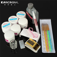 Wholesale Pro Acrylic Powder Nail Kit - Wholesale- Pro Acrylic Powder Liquid Kit Nail Art DIY Tools Manicure Brushes Dotting Pens Nails UV Gel Tips Decoration Set Fashion Shipping