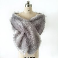 Wholesale Grey Stole Wedding - Silver Grey Faux Fur Winter Bridal Wrap Stole Shrug Cheap Wedding Evening Prom Party Shawl Cape Bolero Free Size In Stock