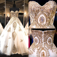 Wholesale Quinceanera Dresses Trains - 2017 Sweetheart Quinceanera Dresses Ball Gowns Tiers Tulle with Gold Appliques 15 Sweet Prom Party Gowns Custom Pageant Gowns